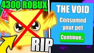 VOID GLITCH DELETED MY 4300 ROBUX PET IN BUBBLE GUM SIMULATOR! (Roblox)