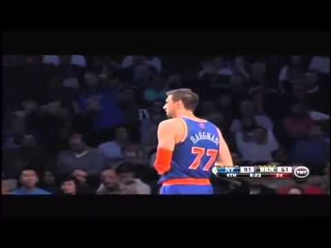 Andrea Bargnani ejected for trash talking Kevin Garnett Knicks vs Nets