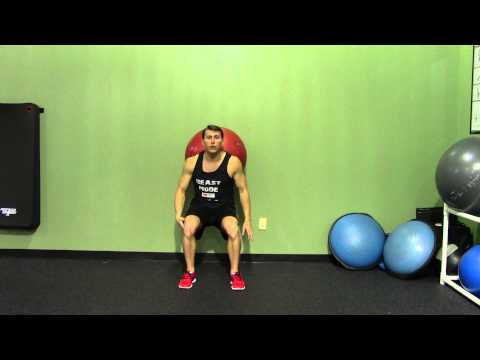 Exercise Ball Wall Squat - HASfit Beginner Squat Exercise Demonstration - Stability Ball Squat