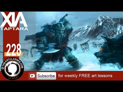 Digital painting tutorial dwarf against wolves concept art