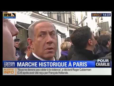 Paris - Benjamin Netanyahu waiting for the bus, lol manif Charlie Hebdo Kouachi Coulibaly