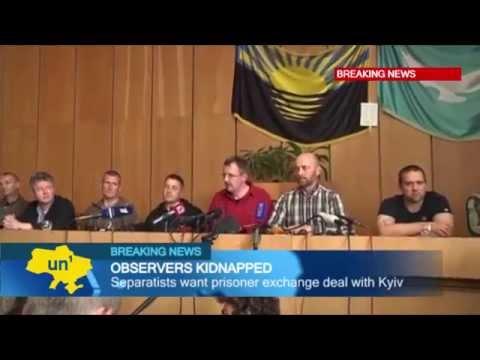 Ukraine OSCE Hostage Crisis: Kidnapped observers appear at press conference in rebel-held Slovyansk