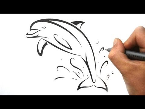 How to Draw a Dolphin - Tribal Tattoo Design Style