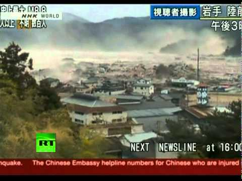 Japan Earthquake: Helicopter Aerial View Video Of Giant Tsunami Waves video