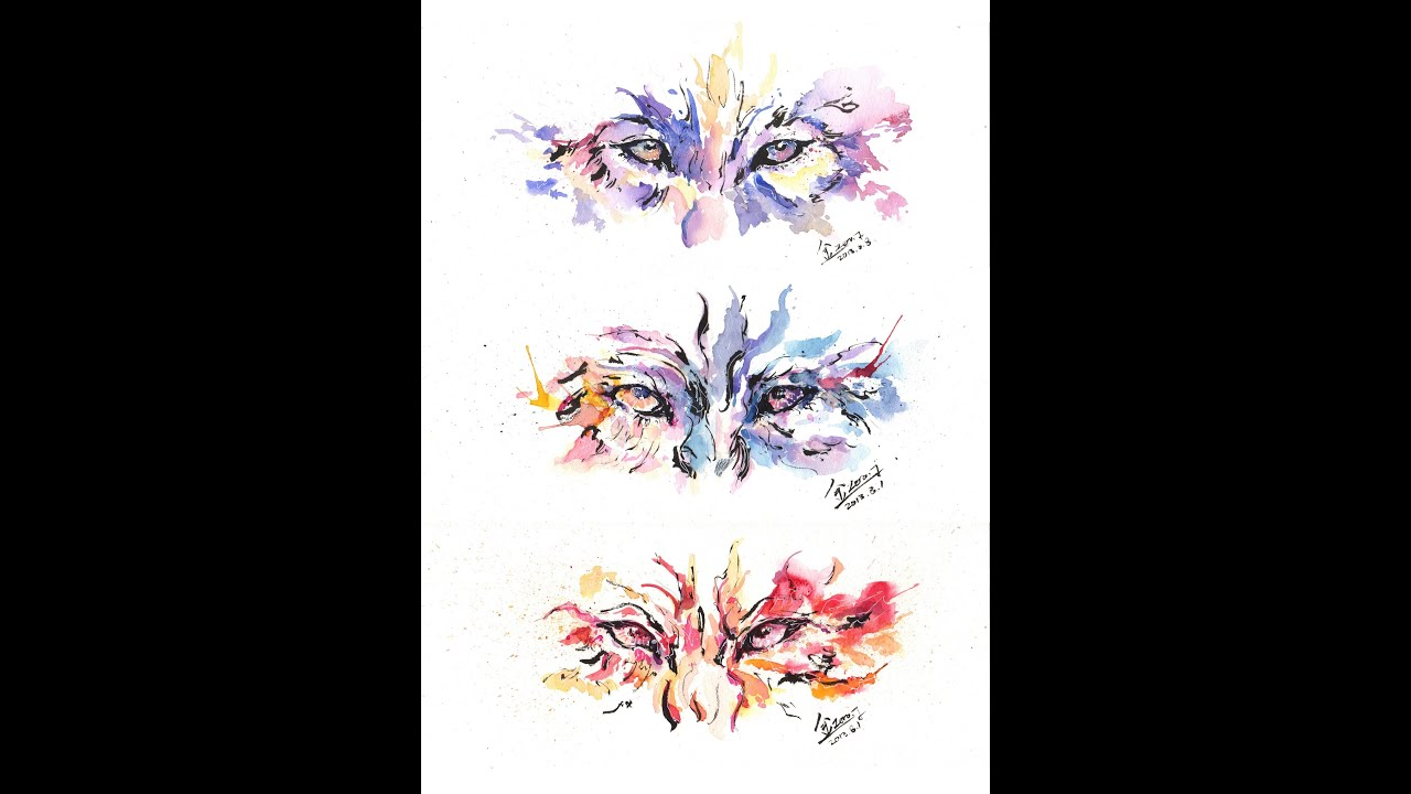 Colorful Wolf Paintings Wolf Gaze Water Color Live