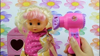 Baby Doll Bath time and Hair wash and hair style toys