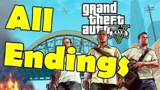 Grand Theft Auto 5 All ENDINGS (Option A, B, and C) Walkthrough Gameplay GTA V GTA 5 All Endings