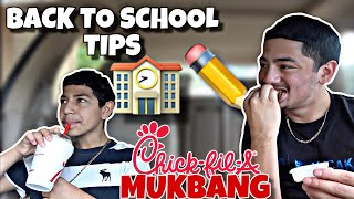 Back to school tips with a 11 year old ✏️ *funny* Chick fil a MUKBANG 🤤