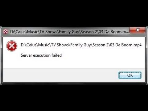 Windows Media Player Server Execution failed Fixed
