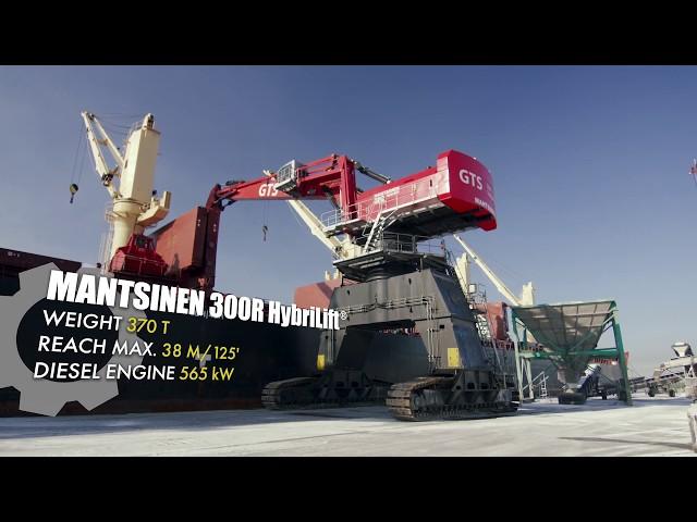 根特港的Mantsinen 300 R混合动力物料处理机