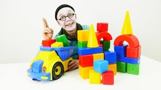 New funny videos! Clown Pim Pim and truck with cubes! Играем с кубиками!