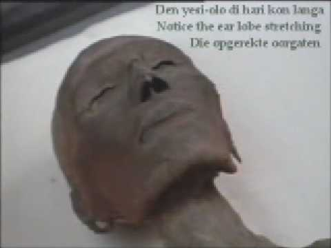 Mummy with ear lobe stretching Yesi olo di hari, opgerekte oorgaten believed to