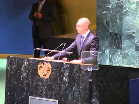 Prime Minister of Ukraine Arseniy Yatsenyuk September 24 2014 United Nations speech meeting