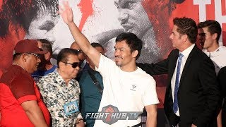 MANNY PACQUIAO GETS HEROS WELCOME FOR KEITH THURMAN FIGHT IN LAS VEGAS GRAND ARRIVAL