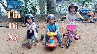 Thử thách đi xe trò chơi các bé thi xe đi nhanh ❤Ngân hà TV❤
