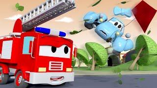 Car Patrol -  Baby Katy FLIES Away - Car City ! Police Cars and fire Trucks for kids