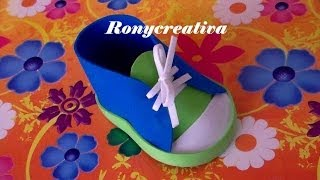 ZAPATITOS DE NIÑO EN FOAMY O GOMA EVA PARA BABY SHOWER / BABY SHOWER SHOE DIY