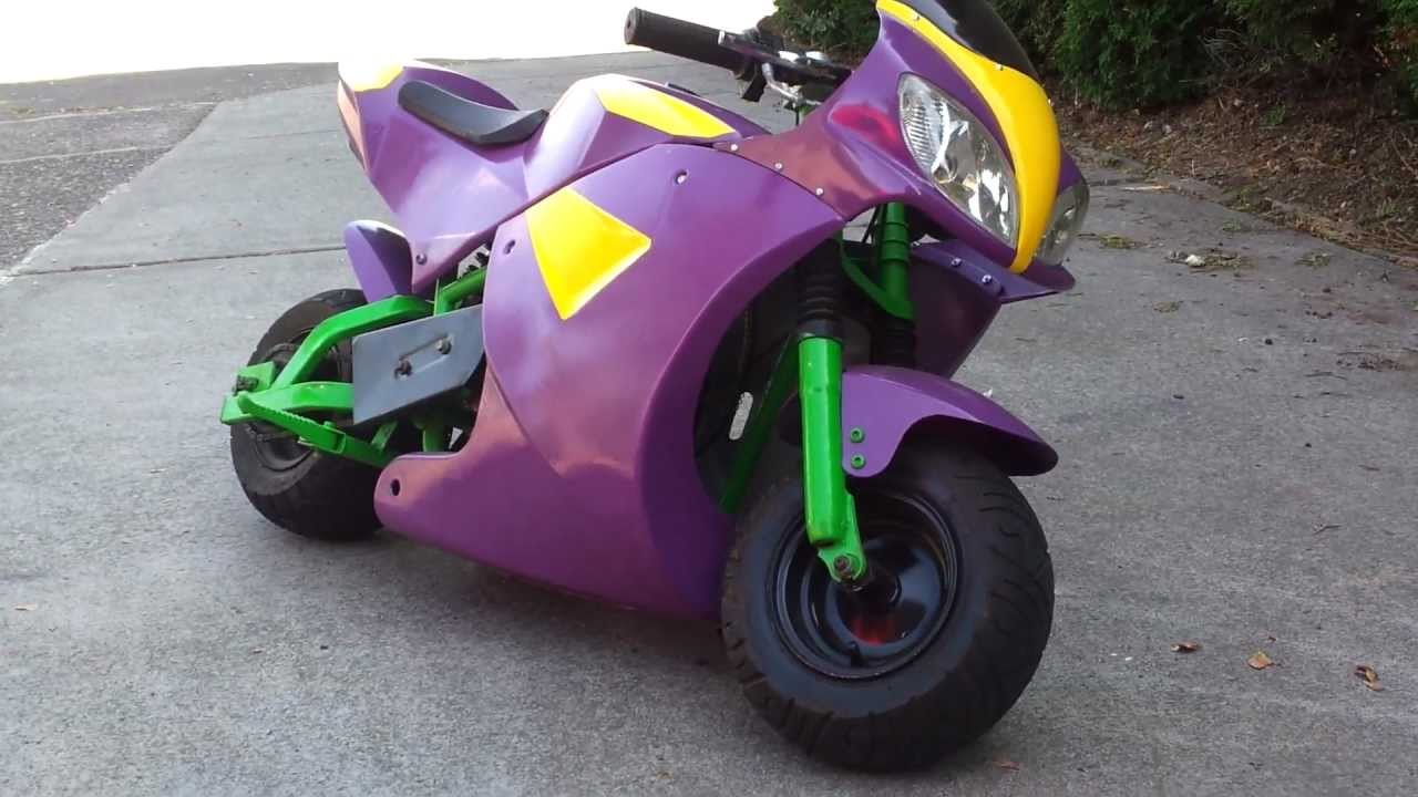 49cc Cat Eye Pocket Bike Custom Walk Around And Start Up