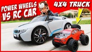 POWER WHEELS BMW i8 vs MONSTER TRUCK RC 4X4 - Racing Kids