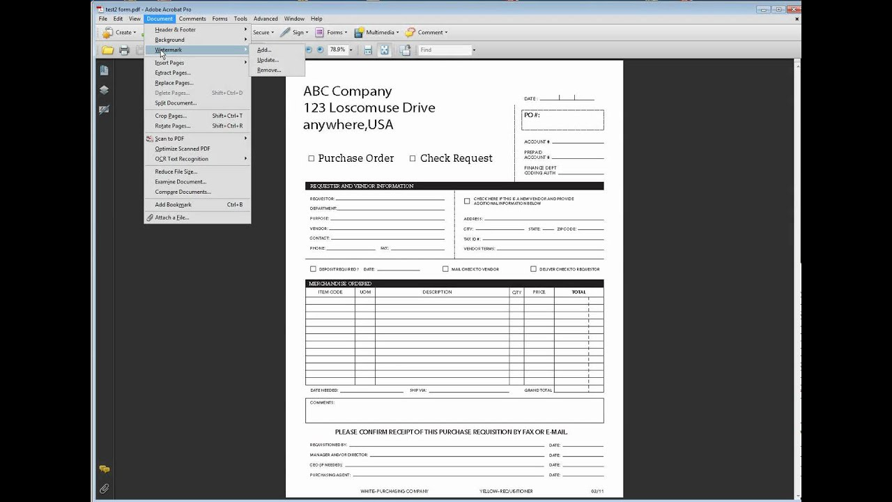 outline text in a pdf