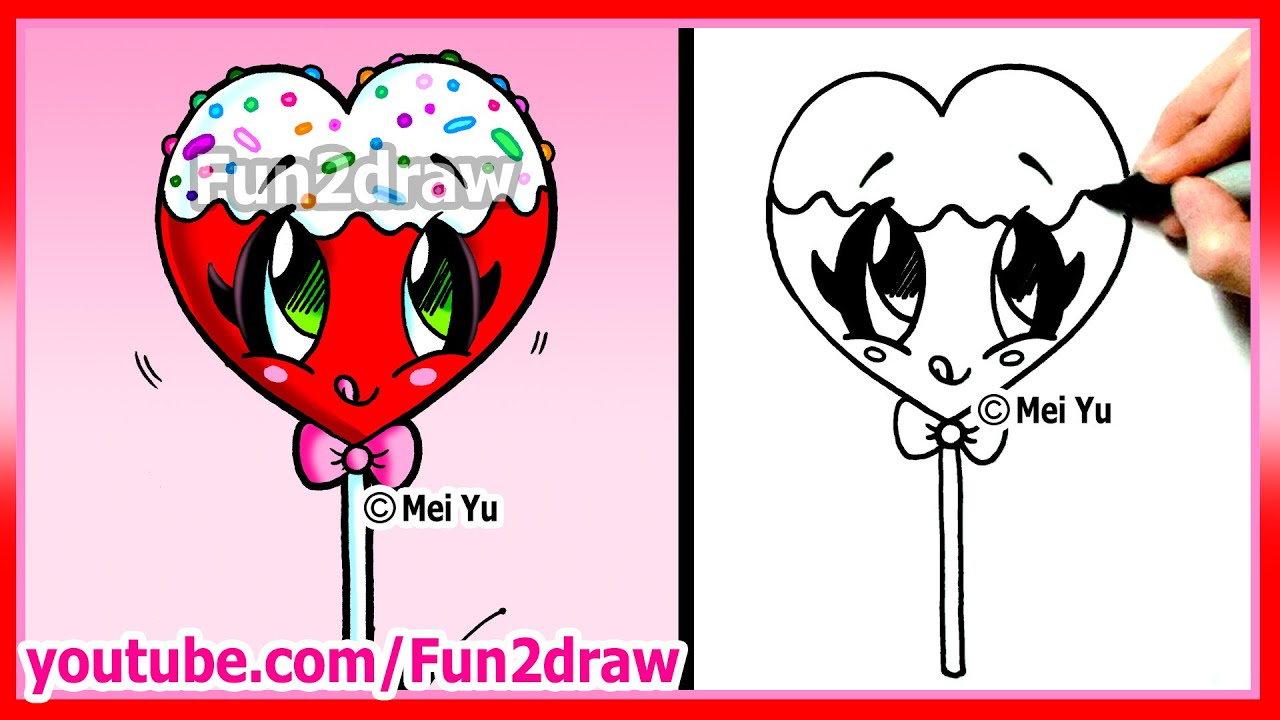 Candy Hearts Drawing How to Draw a Heart Lollipop