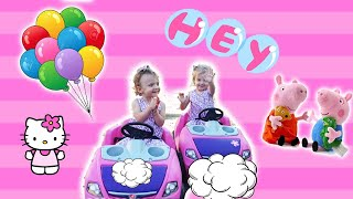 Kristen and Scarlett playing with their Step2 Cars, bubbles and other toys!
