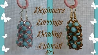 Beginners Earrings Tutorial *(1)*  Beading Tutorial by HoneyBeads1