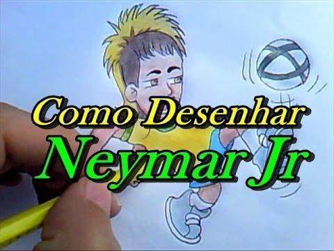 Como Desenhar Neymar da Silva Santos Júnior (Seleção Brasileira de Futebol)