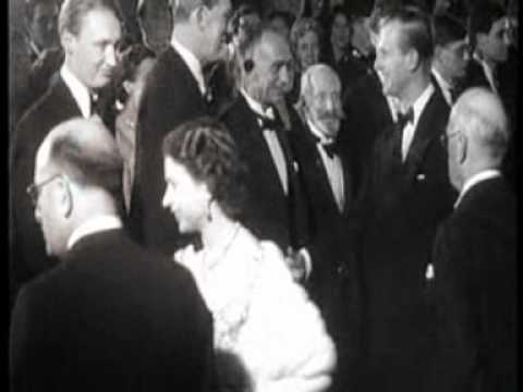 The Queen and Sir Ed at movie premiere (no audio)