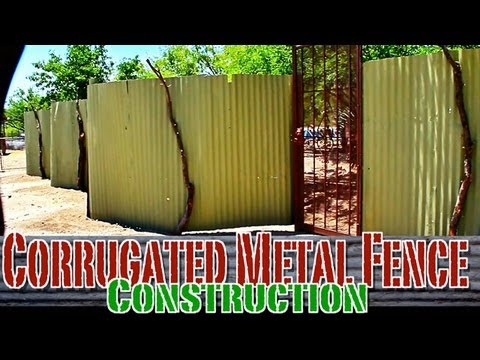 Corrugated Metal Privacy Fence Construction Youtube