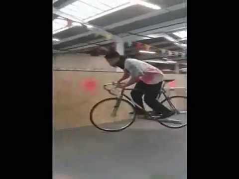 Hovding bicycle airbag live demo - human crash test dummy