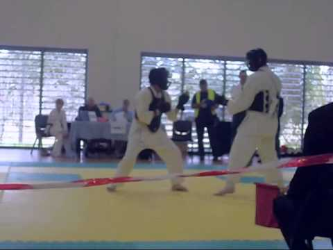 Qld State titles Chitoryu Karate 2012 Mens Kumite   Benny Crawford vs Darren Goodwin Image 1