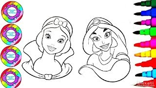 GLITTER Colouring Drawing Disney Princess Jasmine Snow White l Drawing for Toddlers and for Kids