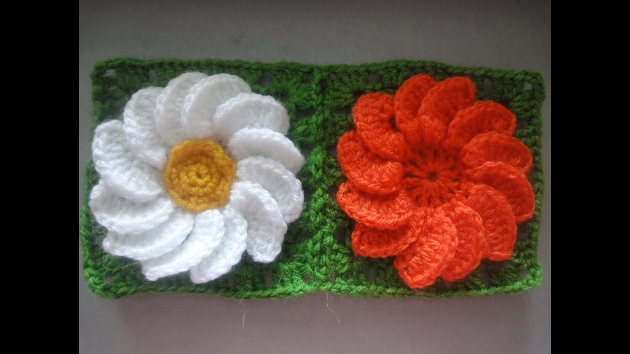 Вязание квадратами и цветами