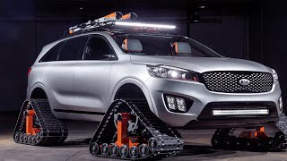 KIA concept SUV uses tank treads instead of tyres; Honda's self-balancing motorcycle - Compilation