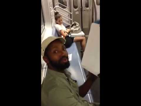 6 train man starts drawing everyone on the train in lighting fast time for free!  Amazing!