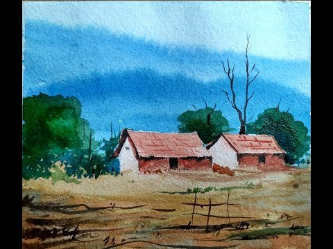 Watercolor painting - Simple Mountain and House landscape step by step