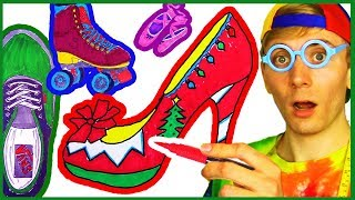 Shoes Coloring Page - Draw & Color Dress Shoes, Boots, Roller Blades, Ice Skates for Kids