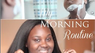 My MORNING Routine | GRWM- Makeup and Clip in Kinky Hair Extensions | Chanel Boateng