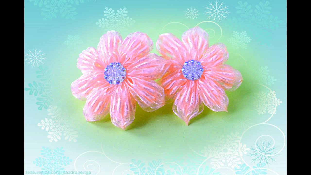 Цветок из узких лент своими руками мастер класс