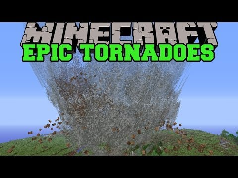 Minecraft: EPIC TORNADO MOD TIDAL WAVES FLYING MOBS AND TORNADOES Mod Showcase