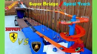 Hot Wheels Fat Track Lamborghini vs Ferrari super bridge spiral ramp Tournament race