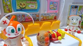 Anpanman crushed his head with ambulance!go to the hospital!for kids!yupyon