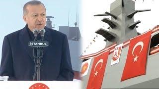 Cumhurbaşkanı Erdoğan, Test ve Eğitim Gemisi Ufuk (A-591) Denize İniş Töreni'nde konuştu