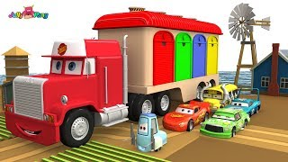 Learning Color Disney Pixar Cars Lightning McQueen Big size car carrier truck Play for kids car toys