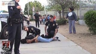 Copwatch   Juvenile Girl Forceful Arrest   Parent & Crowd Upset w/ Police Actions