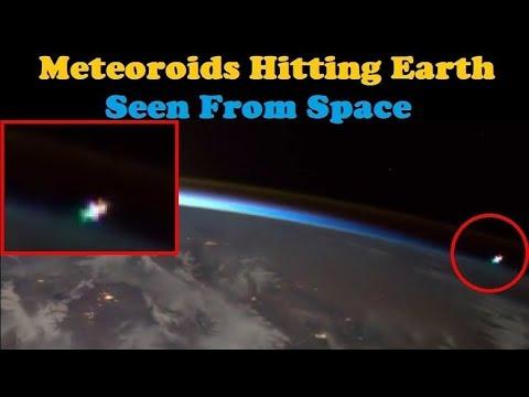 Meteoroids Striking Earth (As Seen From Space)