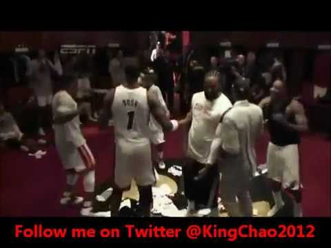 Miami HEAT EASTERN CONFERENCE CHAMPION 2012 & Celebrating At the Locker Room