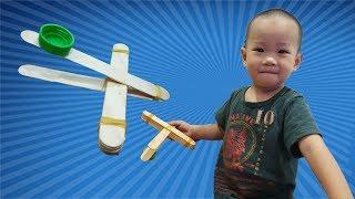 Cùng Bi làm súng đại bác bằng que kem - Làm đồ chơi cho bé - Bibo Vlogs