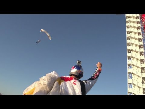 B.A.S.E. Jump off Circuit of the Americas Tower - Red Bull Grand Prix of the Americas